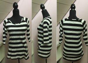Zara Gestreept shirt wit-zwart Synthetische vezel