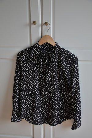 Schwarz Weiß getupfte Bluse mit Schleifchen von Ann Taylor