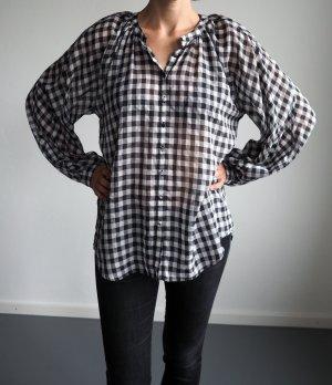 schwarz-weiß karierte Bluse