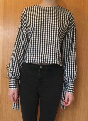 schwarz/weiß karierte bluse