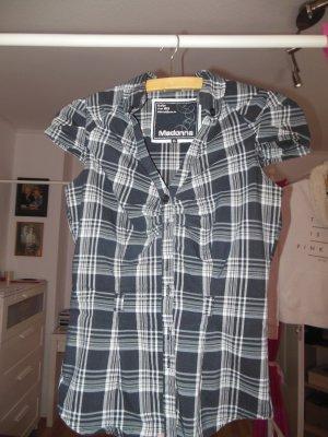 schwarz-weiß-karierte Bluse, Gr. XS, Madonna, kurzärmelig, leicht tailliert, kann auch mit Gürtel getragen werden