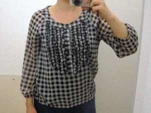schwarz/weiß karierte lockre Bluse mit Rüschen