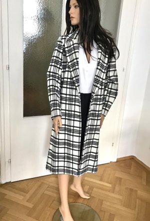 H&M Abrigo de lana blanco-negro tejido mezclado