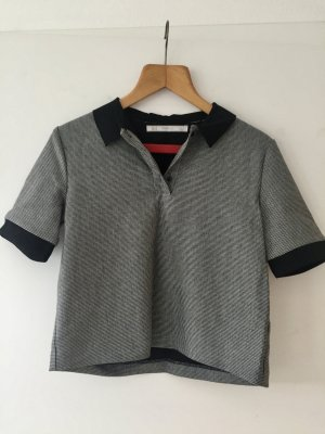 Zara Polo Shirt black-white polyester