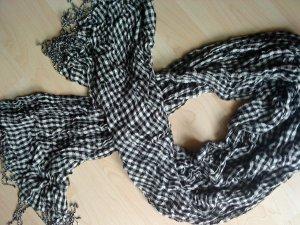 schwarz weiß karrierter Schal mit Fransen Baumwolle