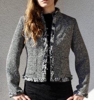 Schwarz Weiß Kastenjacke Jacke Boucle Coco Chanel Stil
