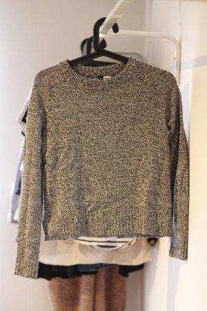 Schwarz-Weiß melierter Pullover