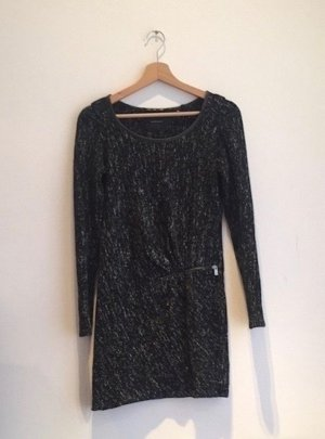 schwarz weiß melliertes Bodycon Kleid