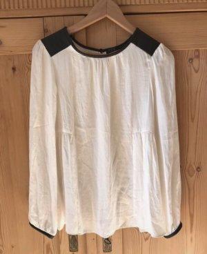 Zara Blusa de manga larga blanco puro-negro