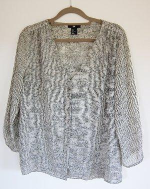 H&M Slip-over Blouse natural white-black polyester