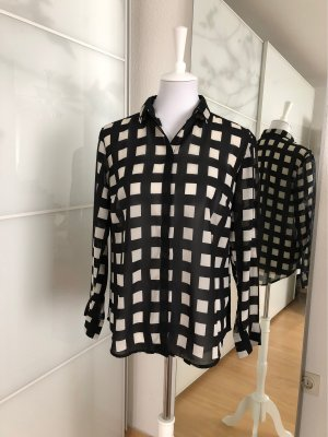 Lindex Blusa transparente negro-blanco