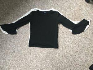 Schwarz/weiße Shirts mit Trompetenärmeln