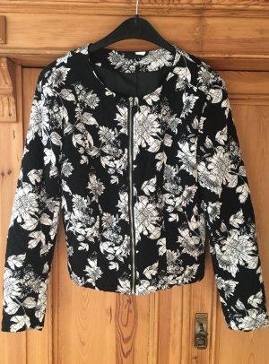 Schwarz-weißer Blouson-Blazer mit Blumenmuster in Gr. 38 von H&M, neu