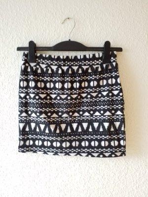 Camaieu High Waist Skirt white-black