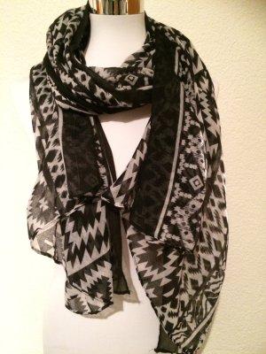 schwarz-weißer Schal, 1,85m lang