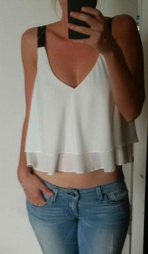schwarz-weißes bauchfreies Zara Top