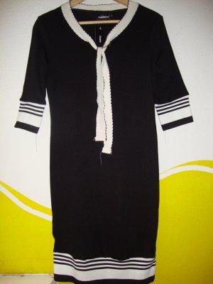 Stretch Dress black-white mixture fibre