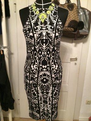Schwarz/Weißes Inka-Print Kleid