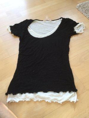 Schwarz-weißes Lagen T-Shirt