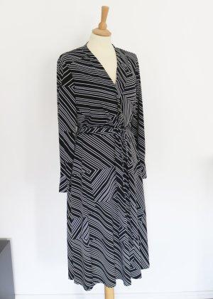 schwarz weißes Midi Wickelkleid mit Linien H&M M