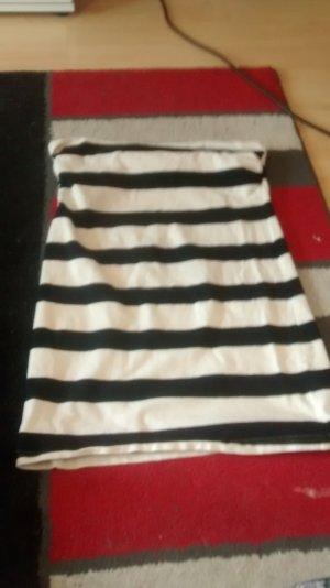Schwarz weißes Minikleid Trägerlos