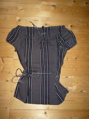 schwarz-weißes Only-Hemd mit Gürtelband