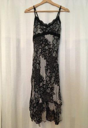 Midi-jurk wit-zwart