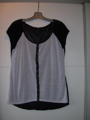 schwarz-weißes T-Shirt von Amisu Gr. 42 mit Kunstleder