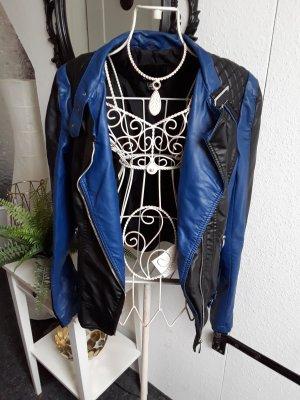 Amisu Giacca in pelle nero-blu