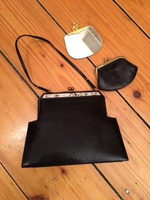 Schwarze Abend-Handtasche mit Geldbeutel und Spiegel