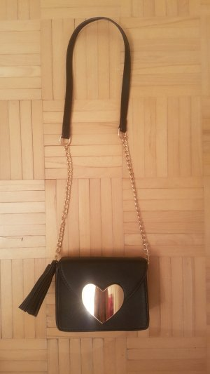 Schwarze Abend- Handtasche mit Herz