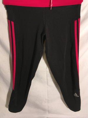 Schwarze Adidas Hose mit Pinken Streifen