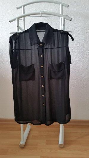 Schwarze, ärmellose Bluse