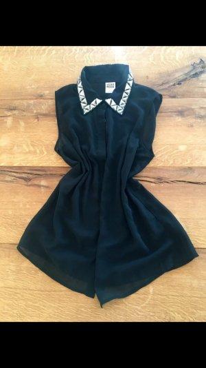 Schwarze Ärmellose Bluse mit Glitzersteinchenkragen von Vero Moda