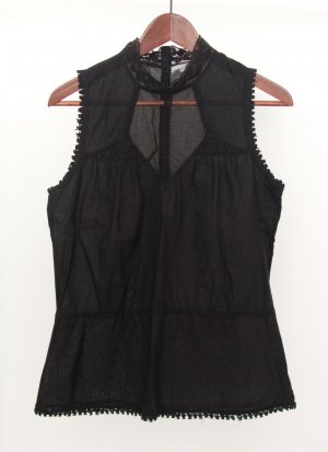 3 Suisses Sleeveless Blouse black cotton