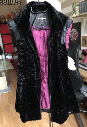 Ancora Smanicato di pelliccia nero-rosa