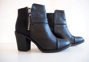 H&M Ankle Boots black-silver-colored imitation leather