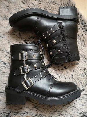 Boohoo Bottines plissées noir-argenté