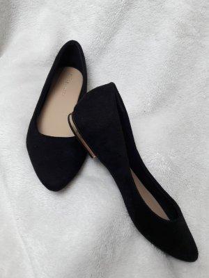 schwarze Ballerinas / goldener Streifen / ungetragen / Größe 38