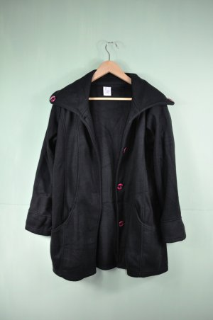 Schwarze Basic Fleecejacke / Mantel