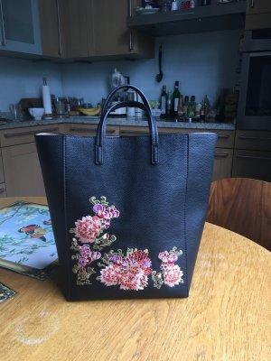Schwarze bestickte Tasche Umhängetasche Blumen Muster