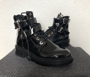 Pull & Bear Botas moteras negro-color plata