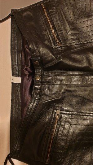 Schwarze Biker Lederhose