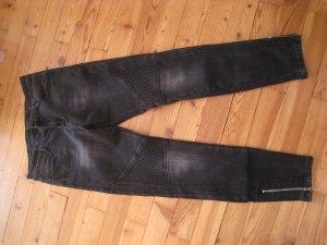 Schwarze Biker Skinny Jeans