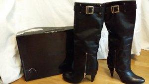 Schwarze (Biker) Stiefel,Leder mit abnehmbarer Label-Schnalle