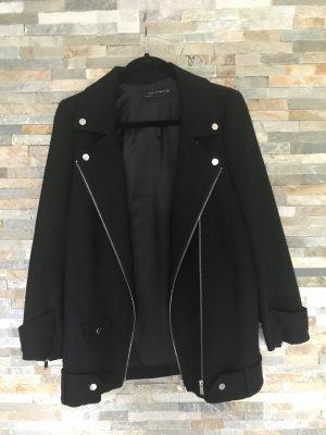 Schwarze Bikerjacke Kurzmantel von Zara in XS