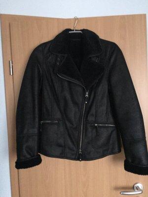 schwarze Bikerjacke Lederjacke von Bonita, Größe 36