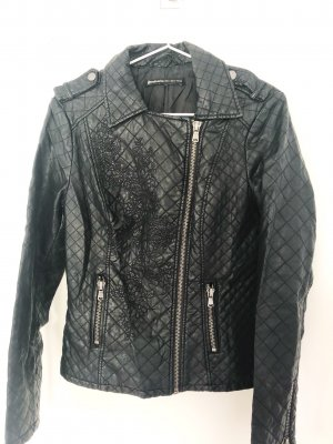 Stradivarius Biker Jacket black-silver-colored