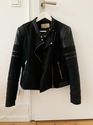 Zara Chaqueta de motociclista negro-color plata