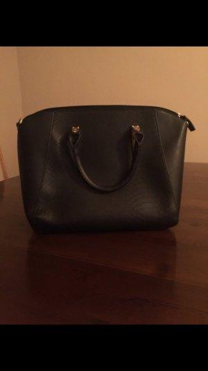 schwarze Blogger Ledertasche Handtasche Henkeltasche